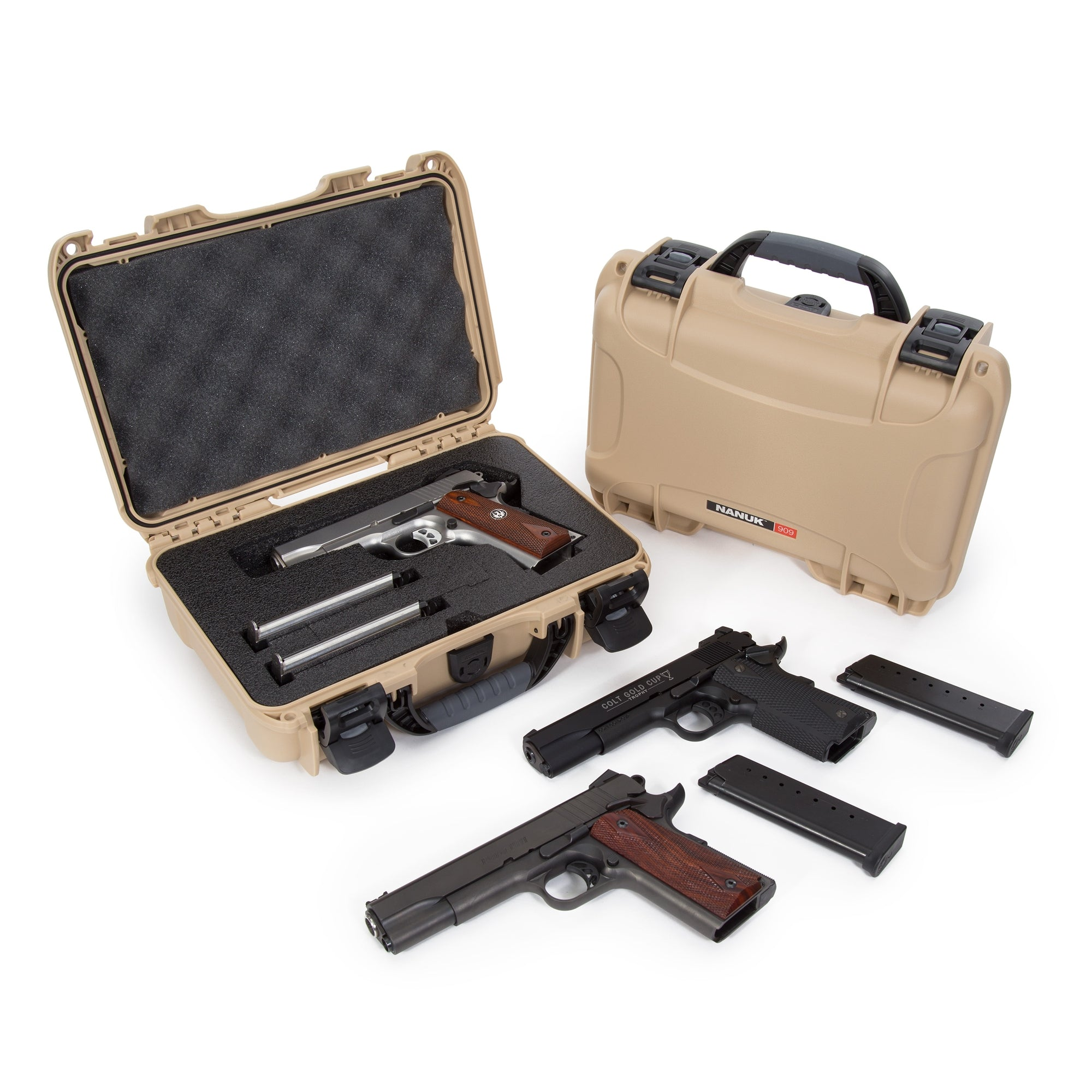 Nanuk 909 Pistol Case in Tan Color - A Small Case for one handgun