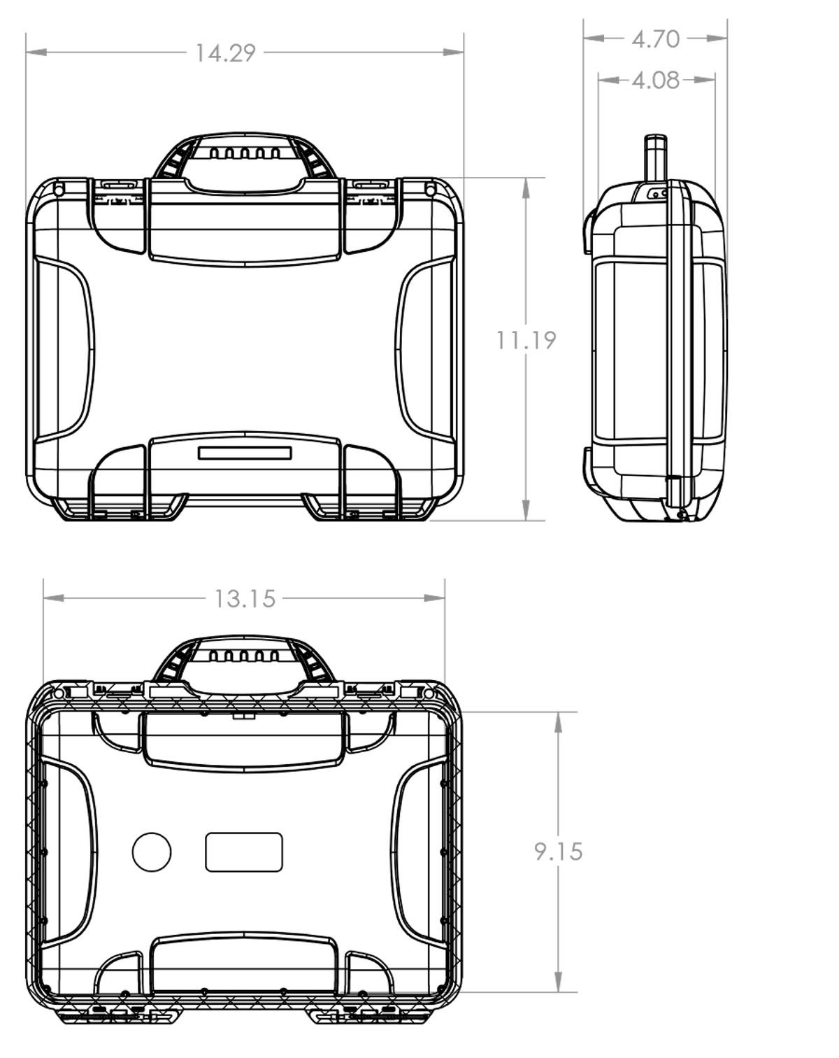 Dimensions of the Nanuk 910 DJI Osmo Case Hard Case