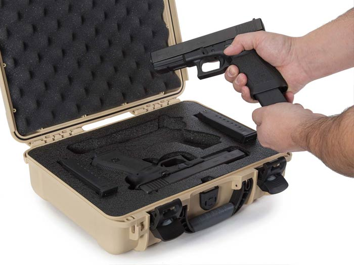 Space for 2 Glock Pistols in the Nanuk 910 2 Up Pistol Case for Glock