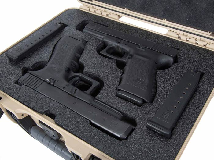 Ultra resistant PEF Foam in the Nanuk 910 Glock 2 Up Pistol Case