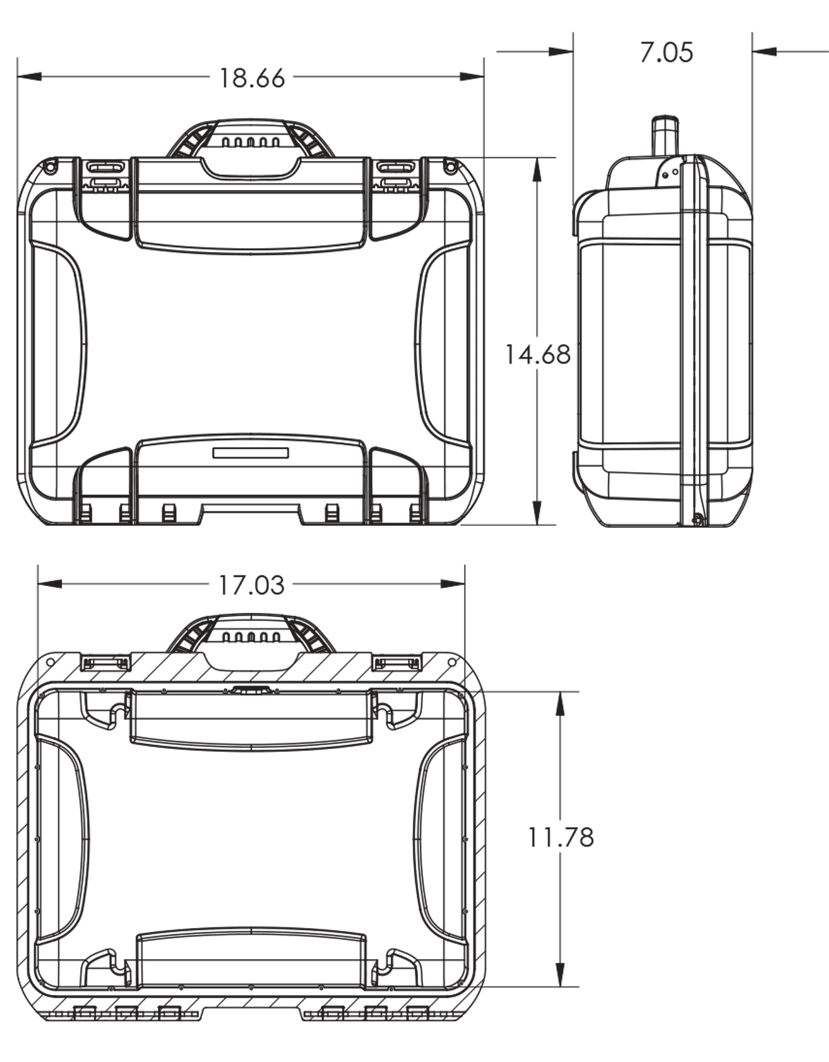 Dimensions of the Nanuk 925 4 Up Pistol Hard Case