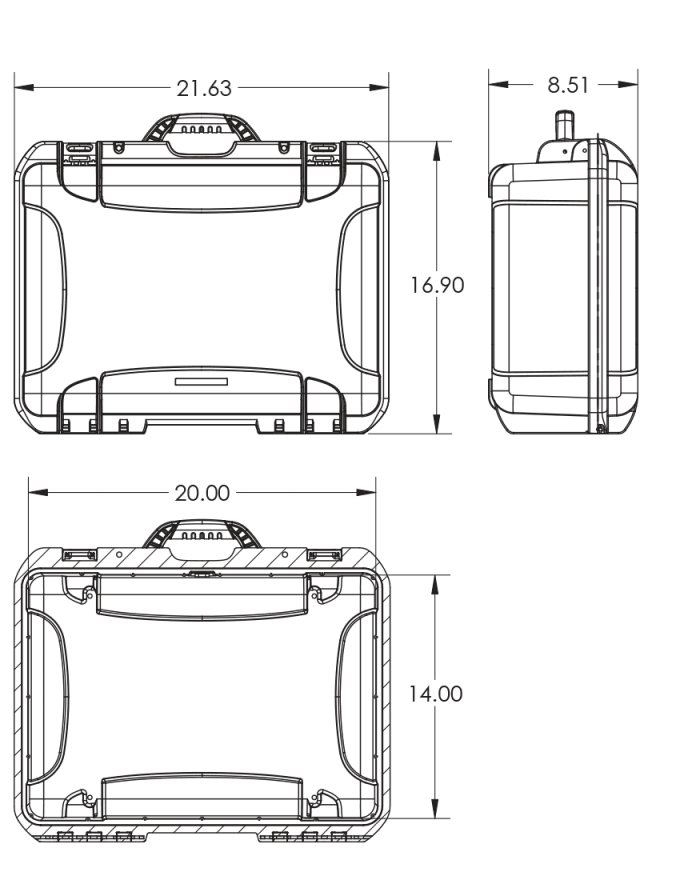 Dimensions of the Nanuk 940 DJI Ronin-M Case Hard Case