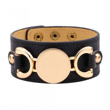 Black Leather Gold Accent Cuff Bracelet - Liz & Addie