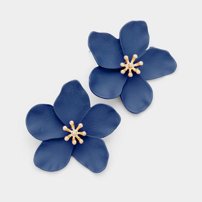 Navy Flower Gold Centre Earrings