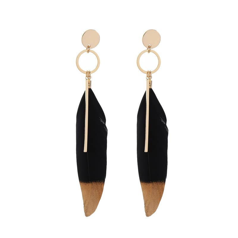 Black Feather Leaf Gold Dipped Bar Earrings