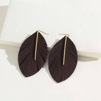 Black Leather Gold Bar Leaf Earrings