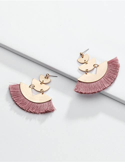 Rose Fan Tassel Earrings