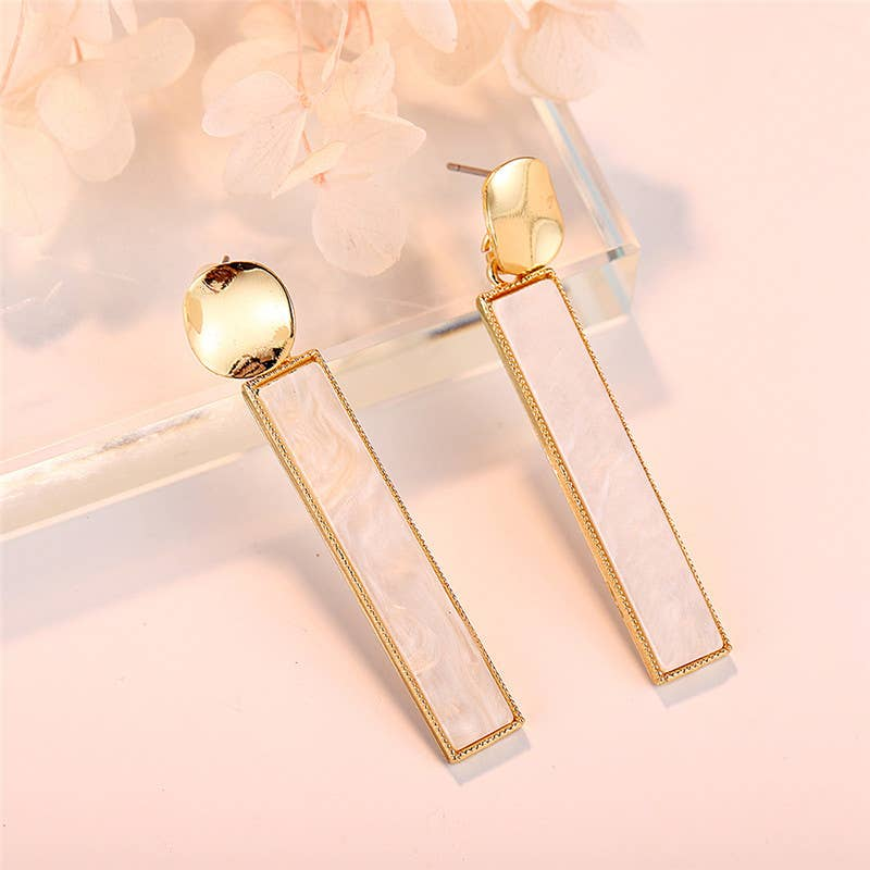 Gold and White Marbled Rectangle Earrings
