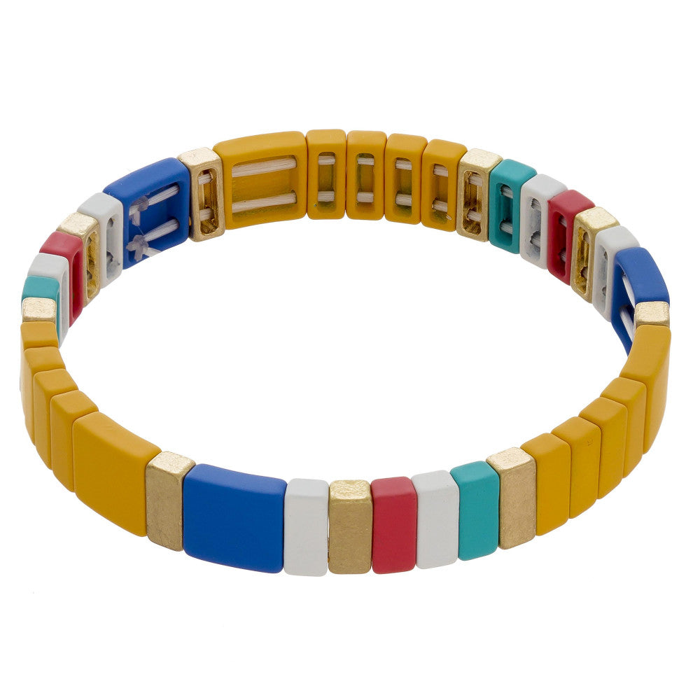 Yellow Colorful Stretch Tile Matt Bracelet