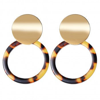 Gold and Tortoise Celluloid Hoop Earrings - Liz & Addie