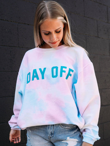 Day Off Teal Corded Sweatshirt - tie dye - Liz & Addie