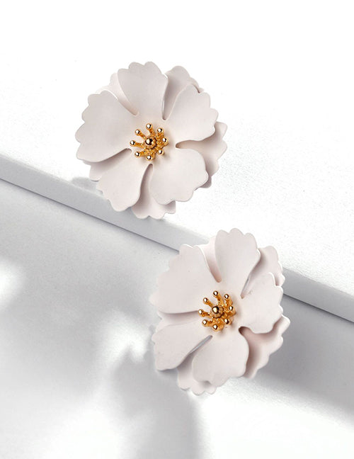 White Flower Bloom Stud Earrings