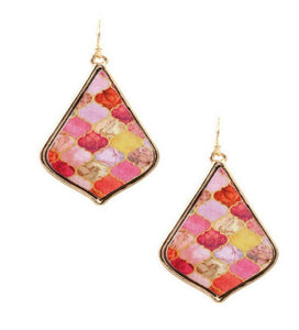 Pink Multi Color Wooden Painted Mediterranean Drop Earrings