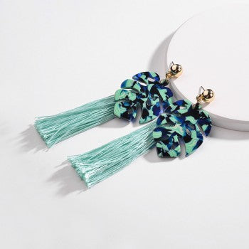 Green Marbled Leaf Tassel Earrings - Liz & Addie