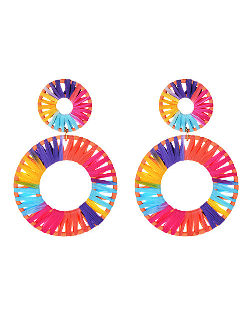Double Circle Rainbow Raffia Hoop Earrings - Liz & Addie