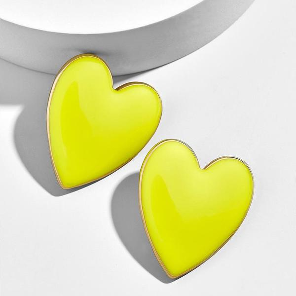 JESSIE BRIGHT YELLOW GOLD ACCENT HEART EARRINGS