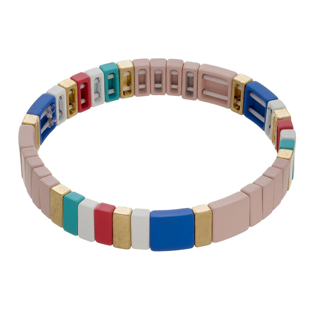 Pink Colorful Stretch Tile Matt Bracelet