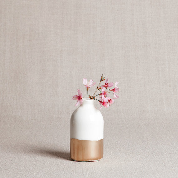 Minimalist Bud Vase - White and Gold - Liz & Addie