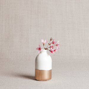 Minimalist Bud Vase - White and Gold