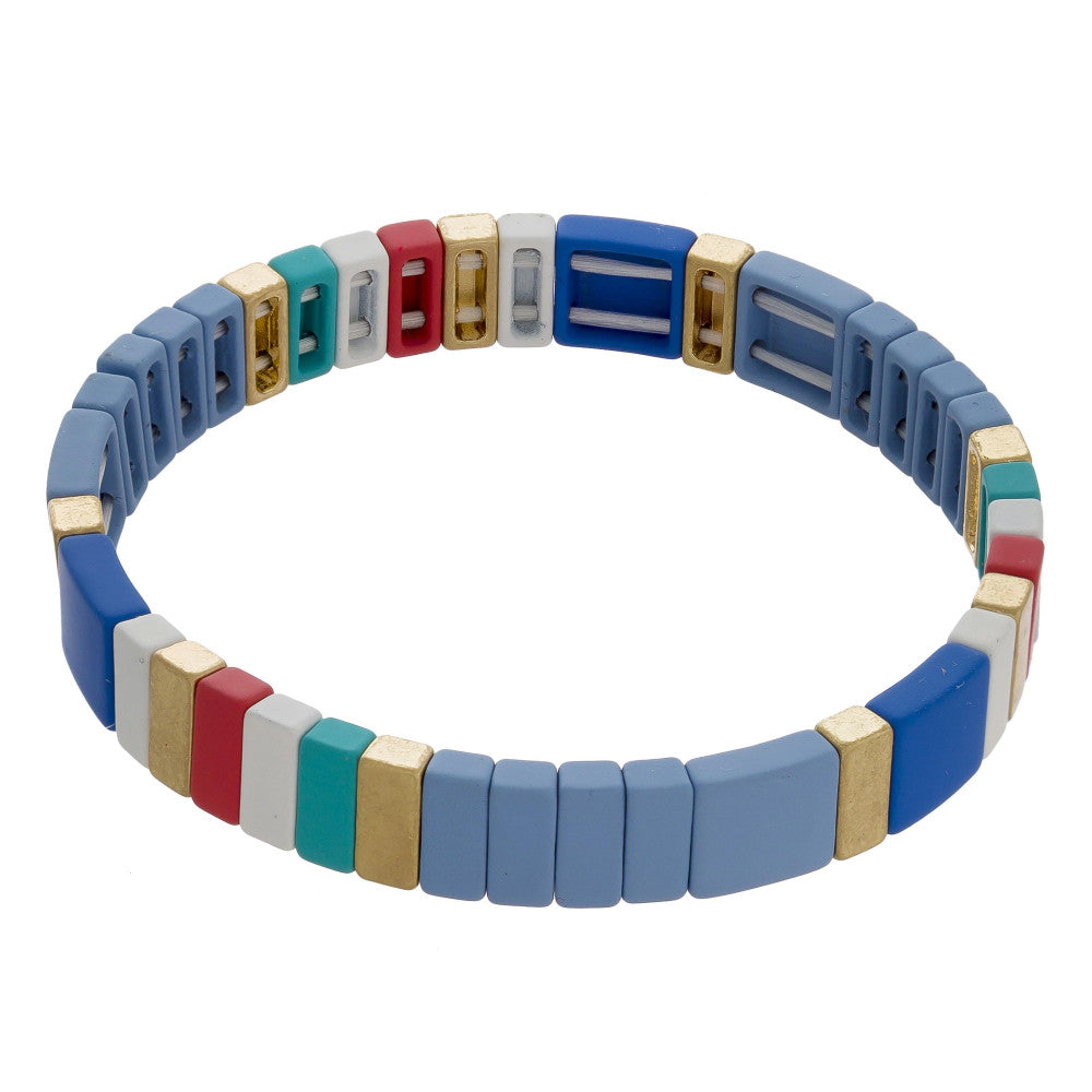 Blue Colorful Tile Matt Bracelets - Liz & Addie