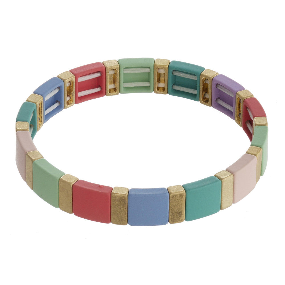 Multi Color Stretch Tile Matt Bracelet