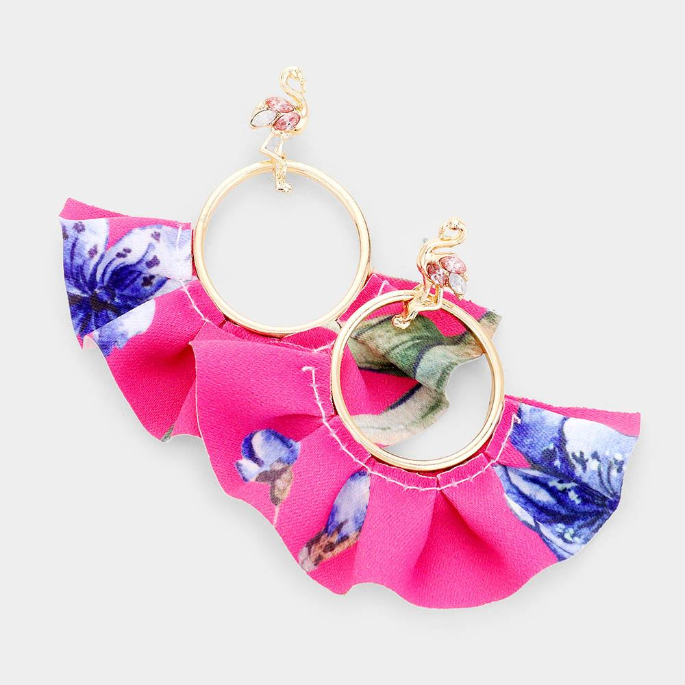 Flamingo Pink Tropical Fabric Fan Earrings