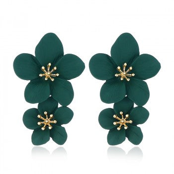 Green Double Flower Earrings