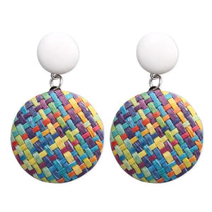Multi Color Rattan Geo Design Circle Earrings - Liz & Addie