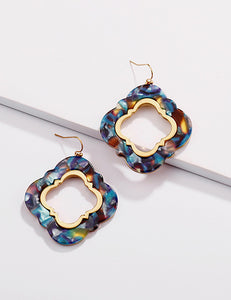 Blue and Gold Clover Marbled Earrings
