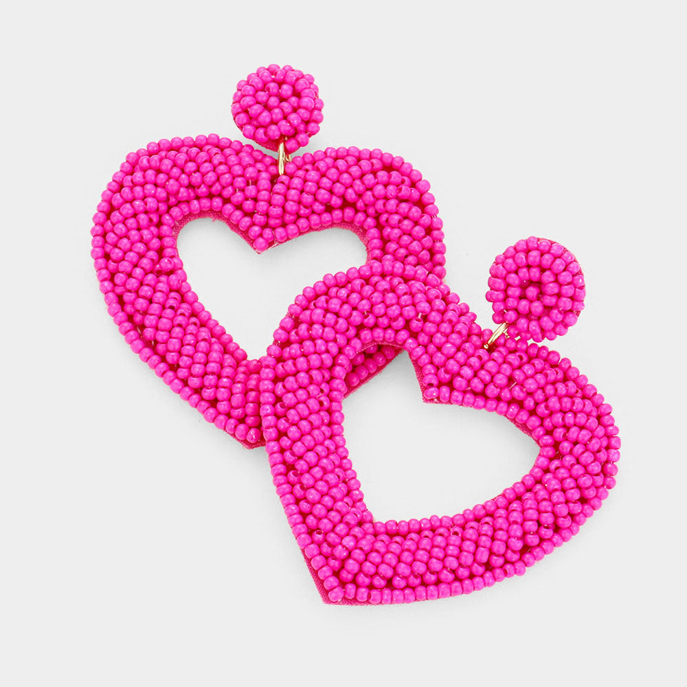 Hot Pink Seed Bead Heart Earrings
