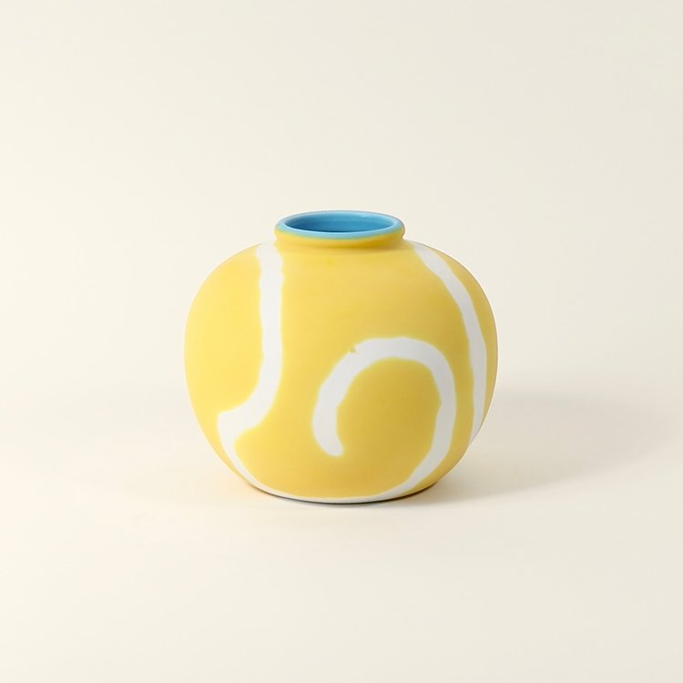 Memphis Jade Ring Vase - Yellow