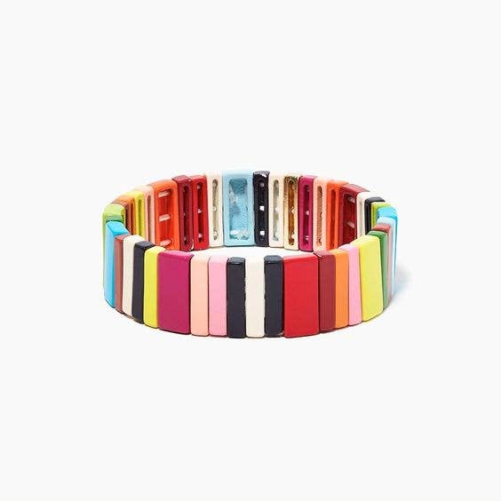 Rainbow Wide Enamel Tile Stretch Bracelet