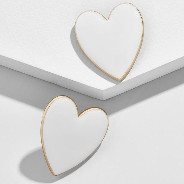 JESSIE WHITE AND GOLD ACCENT HEART EARRINGS