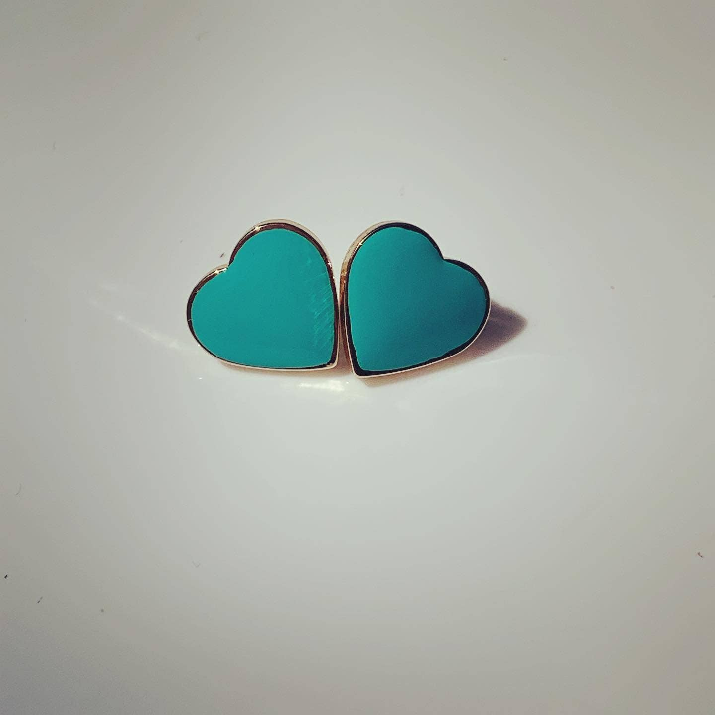 Koko & Lola Forever Robin Egg Blue Heart Solid Earrings - Liz & addie