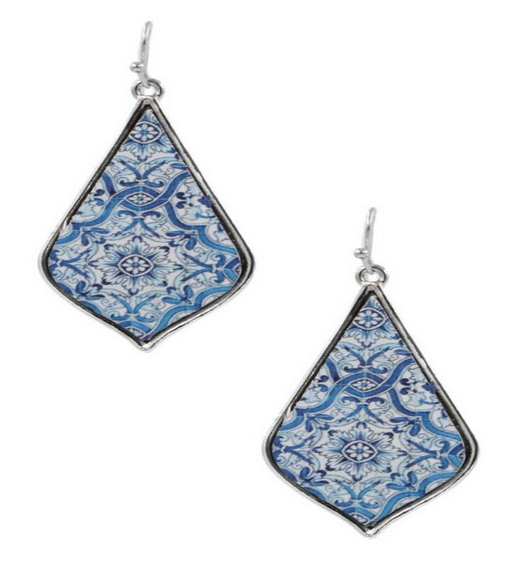 Blue Wooden Painted Mediterranean Drop Earrings