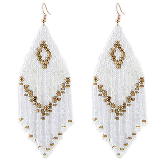 White and Gold Seed Bead Drop Earrings - Liz & addie