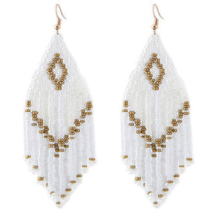 White and Gold Seed Bead Drop Earrings