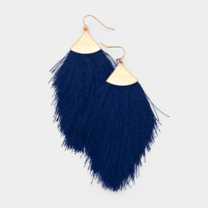Navy and Gold Fringe Tassel Earrings