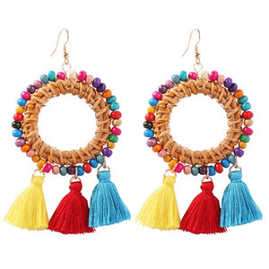Multi Color Seed Bead Raffia Tassel Hoop Earrings - Liz & Addie
