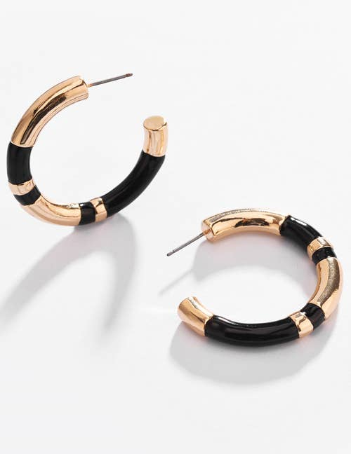 Black and Gold Wide Striped Hoop Earrings - Liz & addie