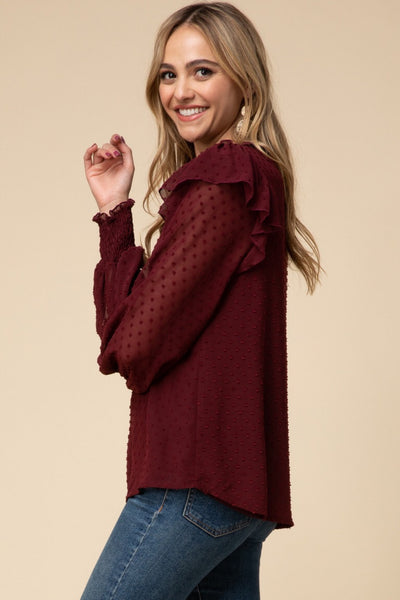 Burgundy Ruffle Top - Liz & addie