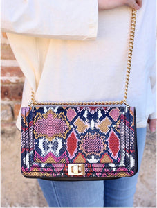 Blakeley Crossbody - Snake Pink Multi - Liz & addie