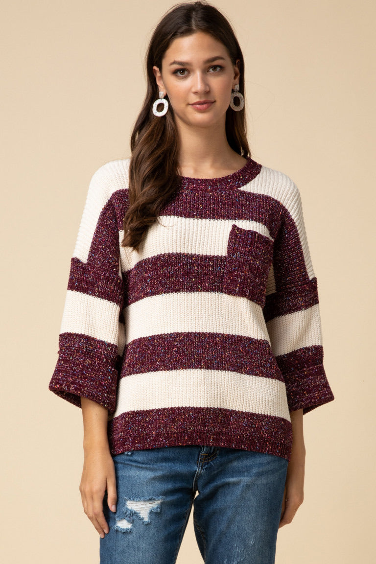 Speckled Chenille Sweater - Wine