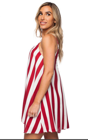 Bonita Dress - Red Striped