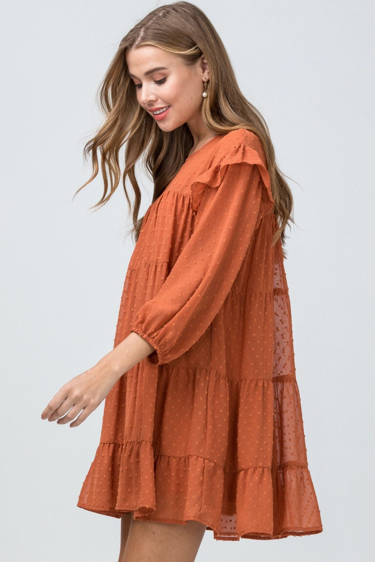 Babydoll Dress - Rust