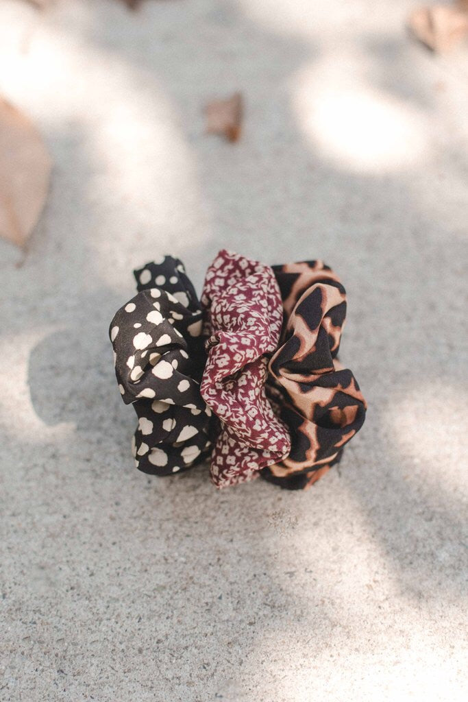 Taupe Dot Scrunchie