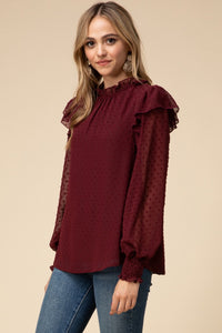 Burgundy Ruffle Top