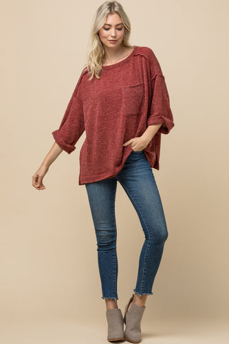 Rust Heathered Top