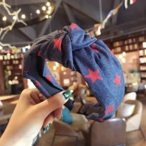 Denim and Red Star Knot Headband