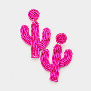 Hot Pink Cactus Beaded Earrings - Liz & addie